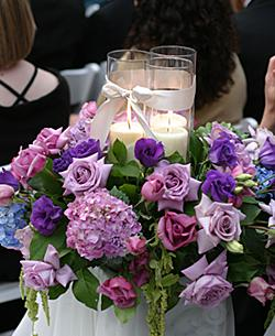 Make cheap centerpieces -Hurricane candle holders, glass cylinder