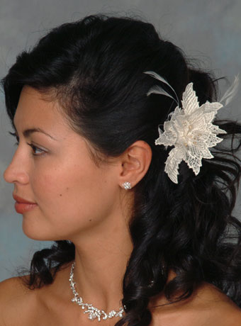 Short: long hair. Extended: Lace Flower Hairpin with Feather Bursts.
