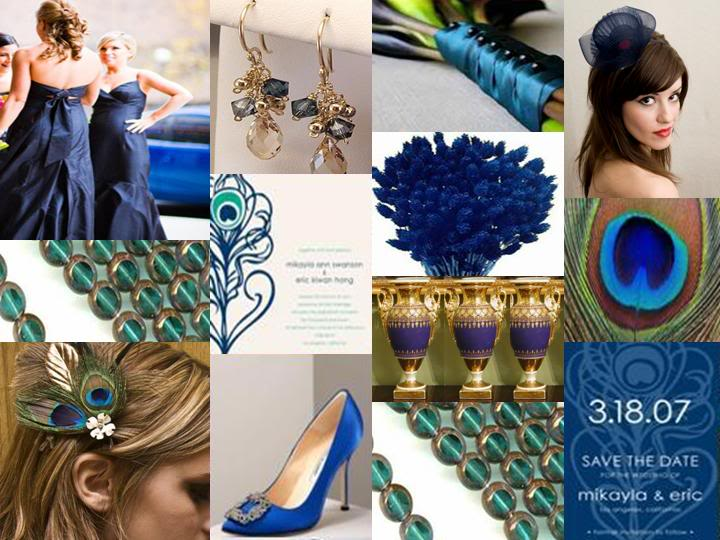 Navy Blue Teal Gold Peacock Wedding