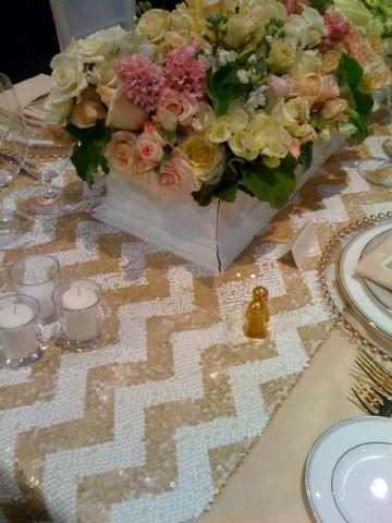 Gold Chevron Sequin Table Runner